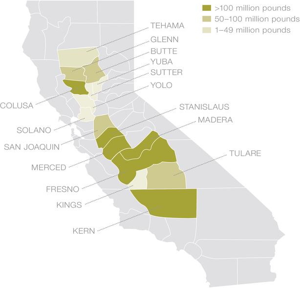 Industry California Map.Industry Resource Map Almond Board Of California